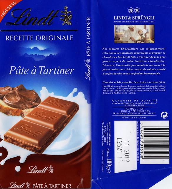 tablette de chocolat lait fourré lindt recette originale pâte à tartiner