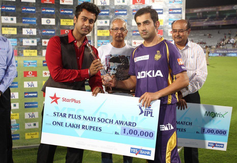 Gautam-Gambhir-Star-Plus-Nayi-Soch-Award -KKR-vs-PWI-IPL-2013