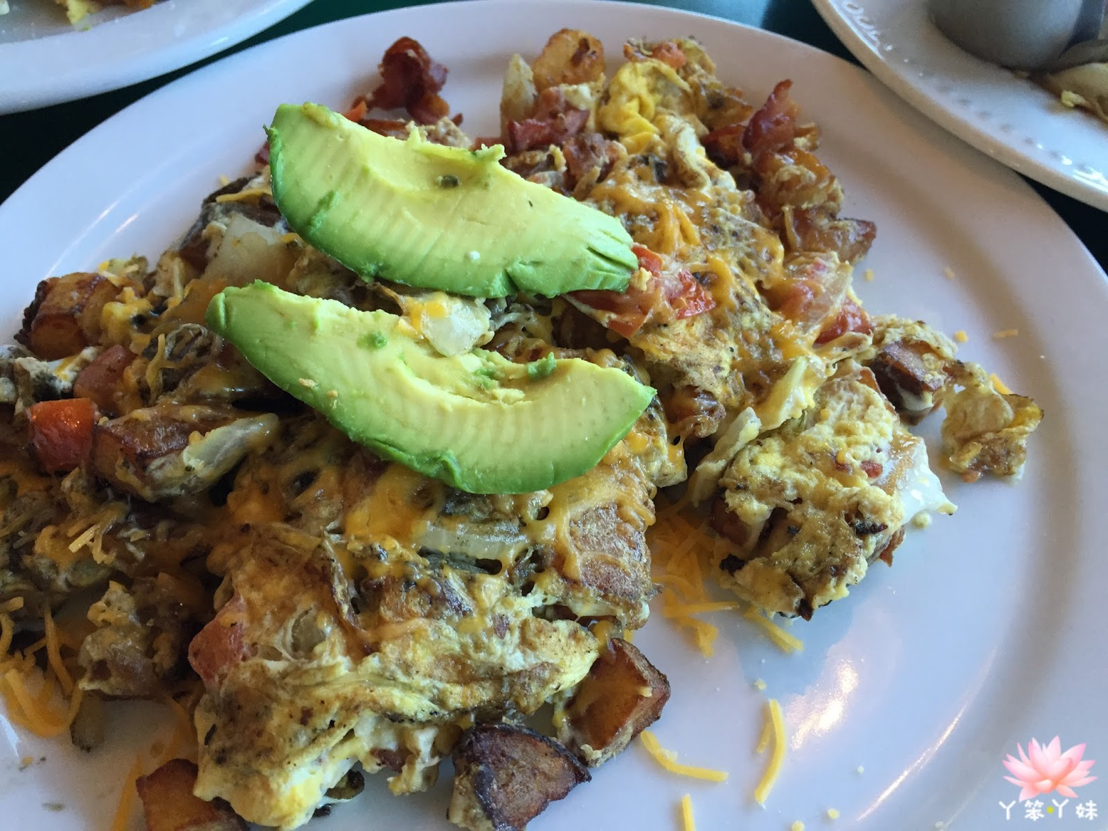 Denver Scramble: Diced Ham, Onions, Green Peppers, Cheddar with ...