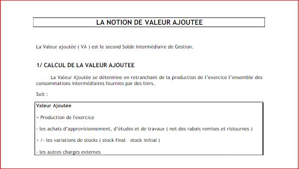 Notion de Valeur Ajoutée