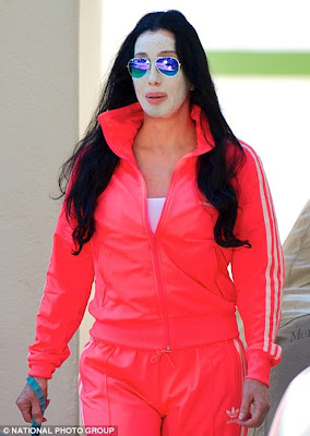 Cher sporting a face mask