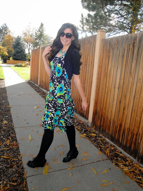 floral dress, floral, wedges, macys, dillards, shrug, curly hair, fit and flare dress, dress, sunglasses,