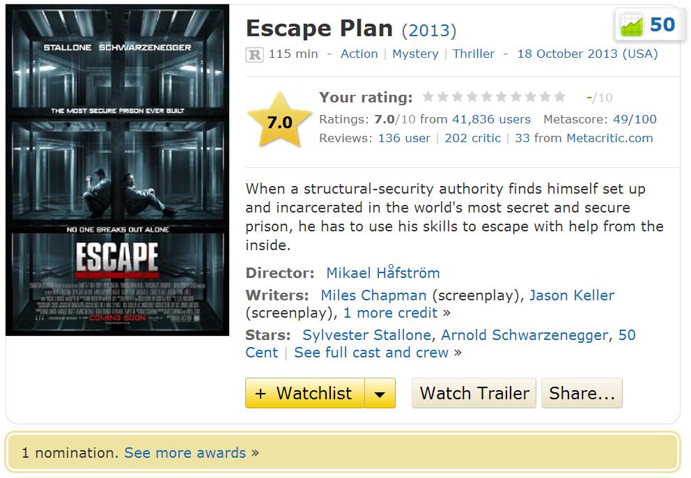 Escape Plan 2013 Movie IMDB Info