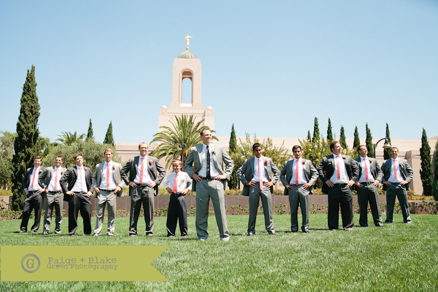 Groomsmen in front of Newport Beach LDS Temple  : Photo by Paige and Blake Green