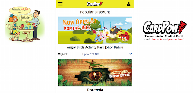 Popular discounts page on cardpow.com