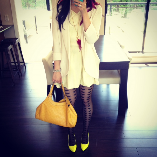 Gucci Charmy yellow purse, Designer purse, Gucci Purse, Fashion, style, designer, guccissima leather, leather bag, Lime neon pumps, neon shoes, pumps, asos tights, asos big hearts tights, tights and pumps, Yellow flower and pink feathers, yellow hair flower, pink hair feathers, Wilfred silk cream blazer, Aritzia blazer, feather necklace, yellow vintage sun dress, self hemmed dress
