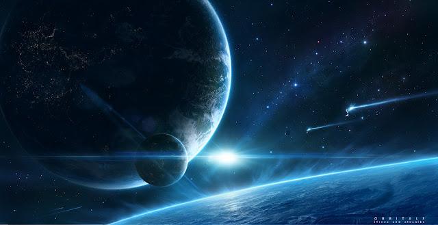 Saturno, Júpiter, universo azul, arte digital do universo