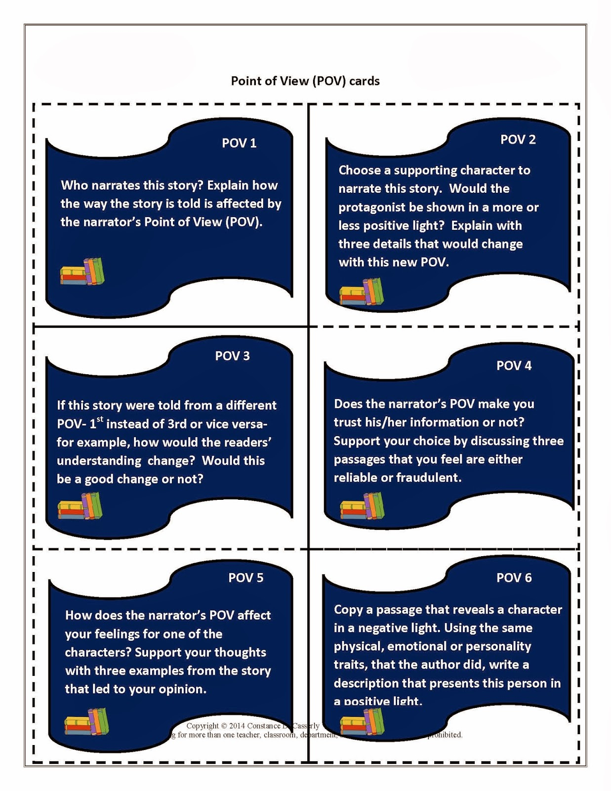 Literature Task Cards-Point of View