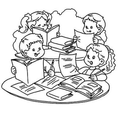 Dibujo De Niños Estudiando Para Colorear