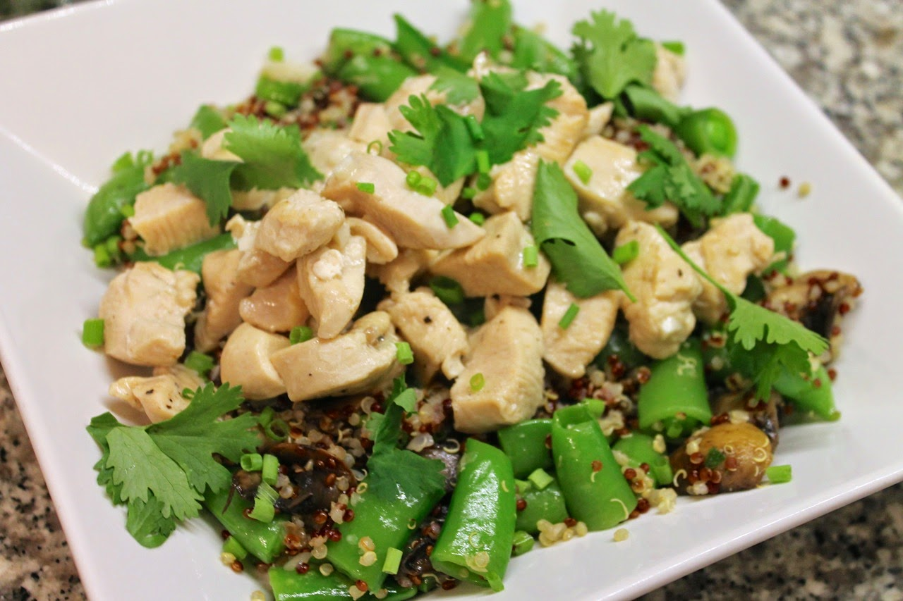 Coconut Garlic Chicken with Quinoa, Sugar Snap Peas and Mushrooms