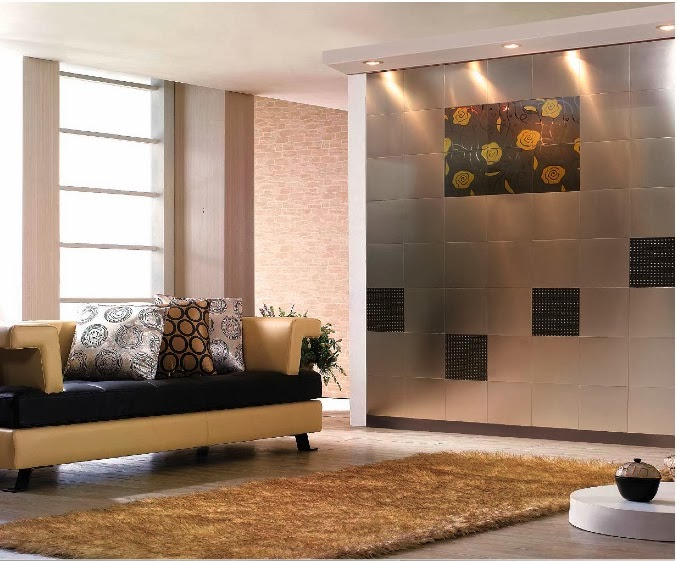 Stainless steel wall art Decorative wall tiles for living room