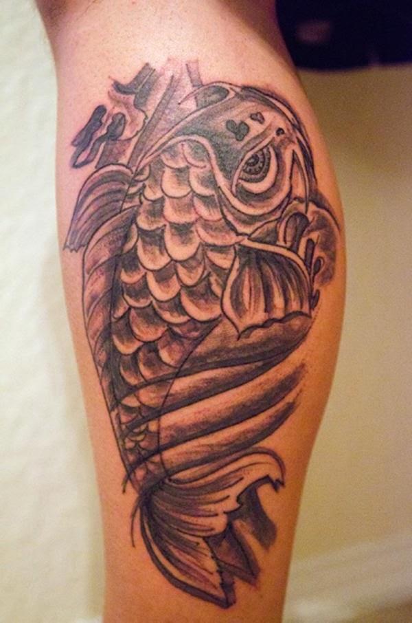 koi fish tattoo designs on leg