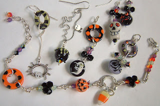 Handmade Halloween jewelry with porcelain beads, crystals, and sterling silver from our kit.