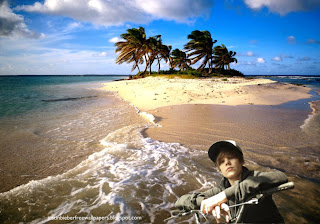 Desktop Wallpaper of Justin Bieber riding a bike bicycle in Beautiful Island Desktop wallpaper