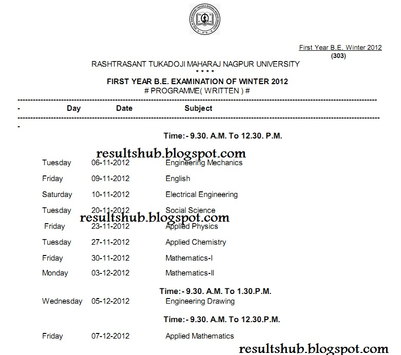 B.E. First Year Winter 2012 Timetable Nagpur University