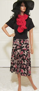 Ladies Full circle Retro floral Print Red Red and Black skirt
