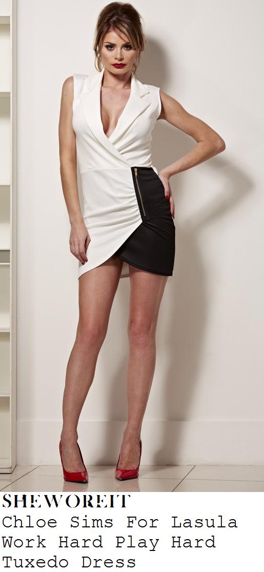 stephanie-waring-cream-white-and-black-sleeveless-wrap-front-tuxedo-mini-dress