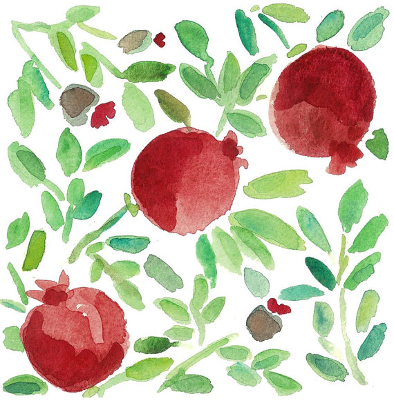 Watercolors Celebrating Rosh Hashanah