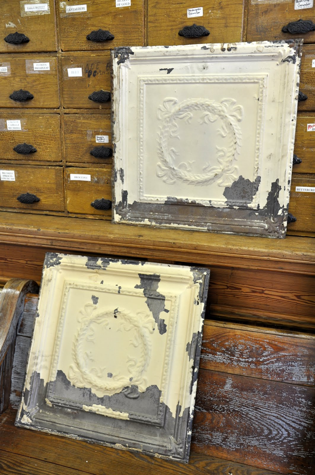 Oklahoma barn market salvaged ceiling tiles just the right patina from cream colored paint dailygadgetfo Gallery