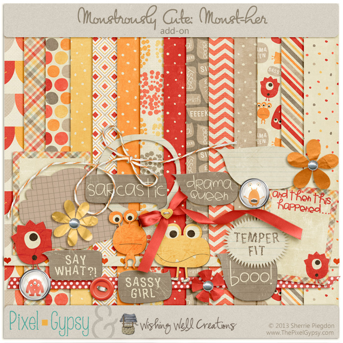 Monstrously Cute: Monst-her Add-on Digital Scrapbooking Page Kit