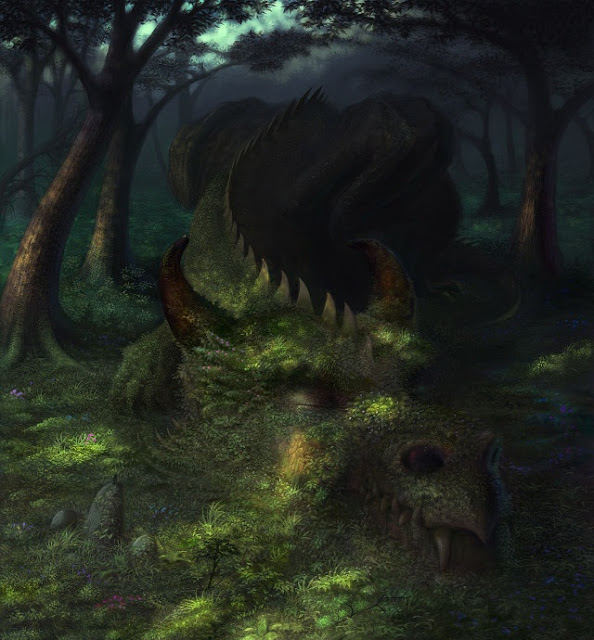 feral dragon,digital art forest, fantasy forest