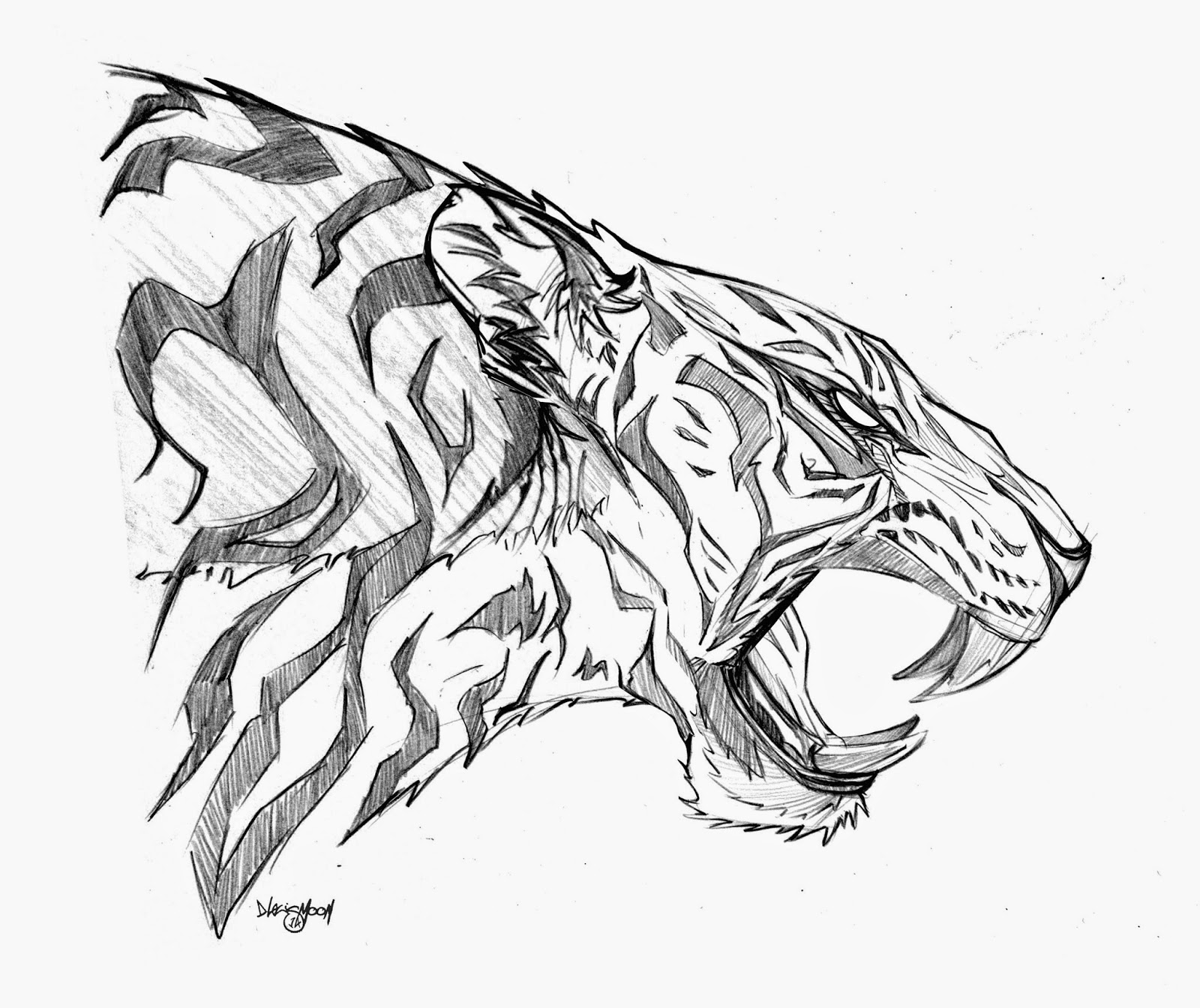 Tiger Roaring Drawing Side View - photo#41
