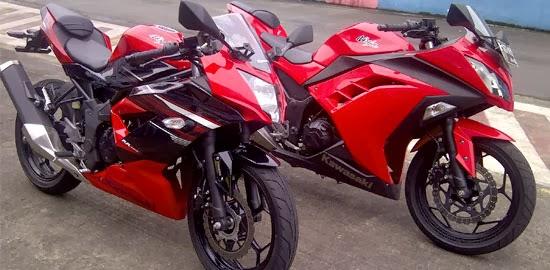 Tampak Samping Ninja 250RR Mono dan Ninja 250FI