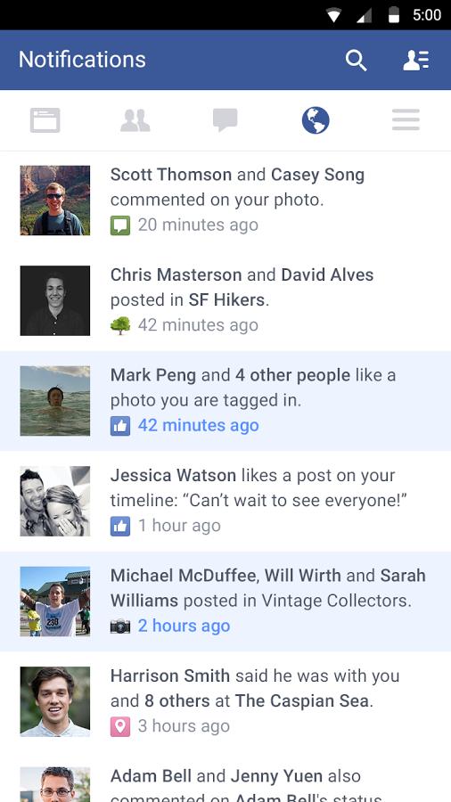 آخر تحديث لتطبيق الفيس بوك Facebook  للأندرويد لعام 2015