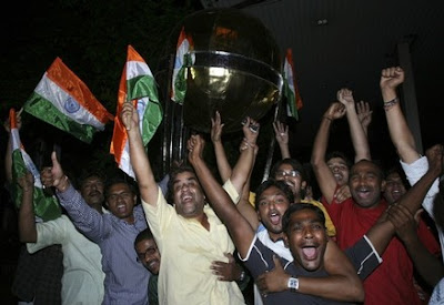 Fans cheering India's Victory