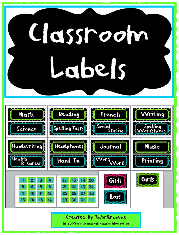 http://www.teacherspayteachers.com/Product/Classroom-Labels-Green-Blue-and-Black-277603
