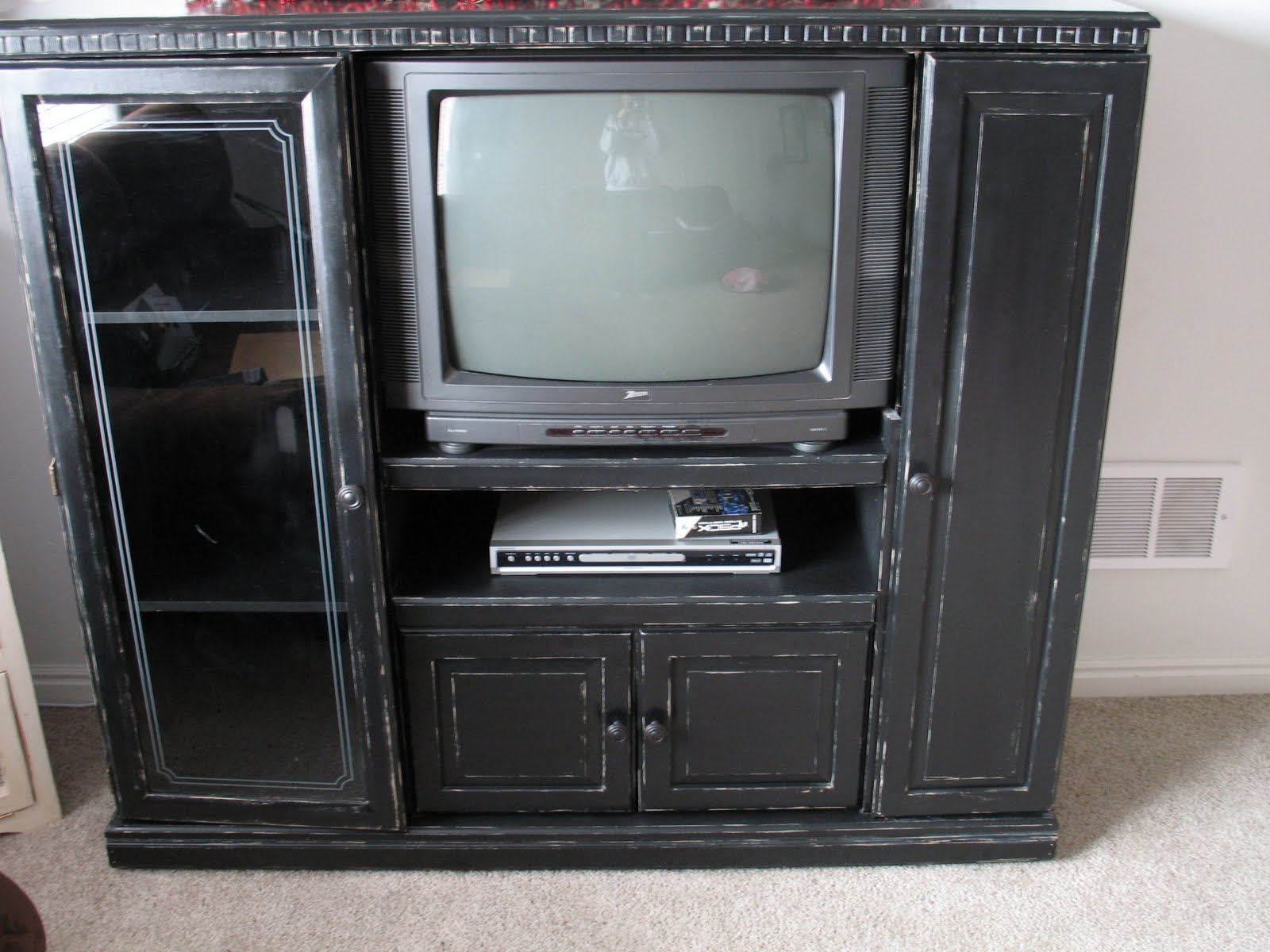 shabby and chic black entertainment center. Black Bedroom Furniture Sets. Home Design Ideas