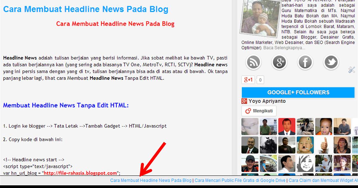 Blog Ilmu Matematika Cara Cepat Membuat Headline News Pada Blog Oleh Yoyo Apriyanto Phone