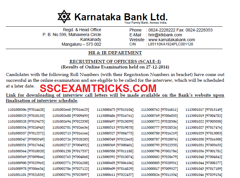Karnataka Bank Officer Scale 1 result