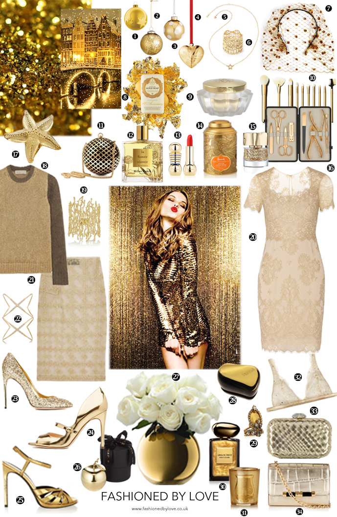 Most beautiful christmas gifts for her in every shade of gold - from gold dresses, sweaters and skirts, to gold shoes and sandals, perfume, make-up, gold brushes, lingerie, bags, gold scented candles and gold perfume. Via www.fashionedbylove.co.uk british fashion blog