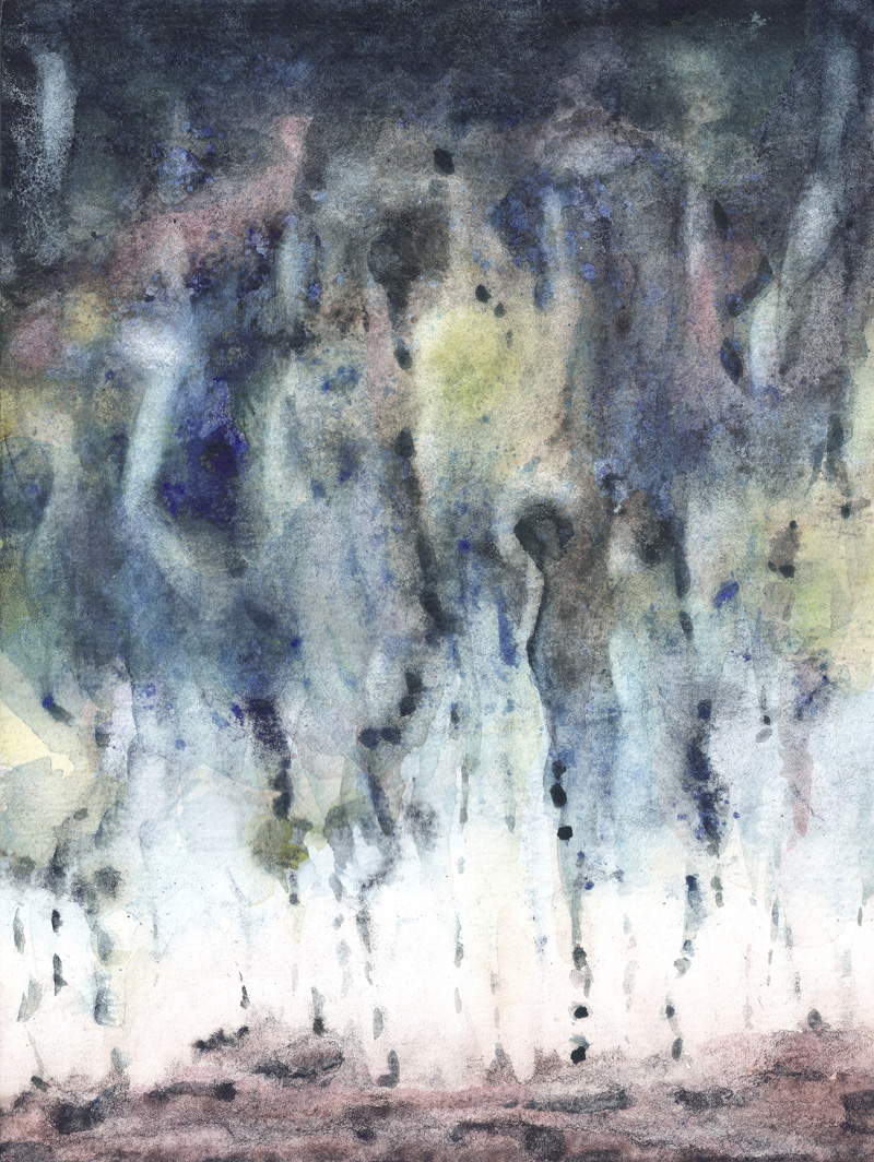 abstract watercolor landscape, deep blue, earth tones, white, indigo