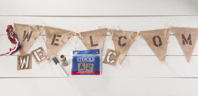 Burlap Welcome DIY Banner @craftsavy #craftwarehouse, #Banner, #Burlap, #DIY