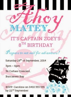 Girl's Pirate party printable invitation. Print it yourself! DIY party ideas and printable stationery at Love That Party
