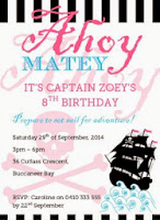 Girl Pirate Birthday Invitation Printable Personalized Pink