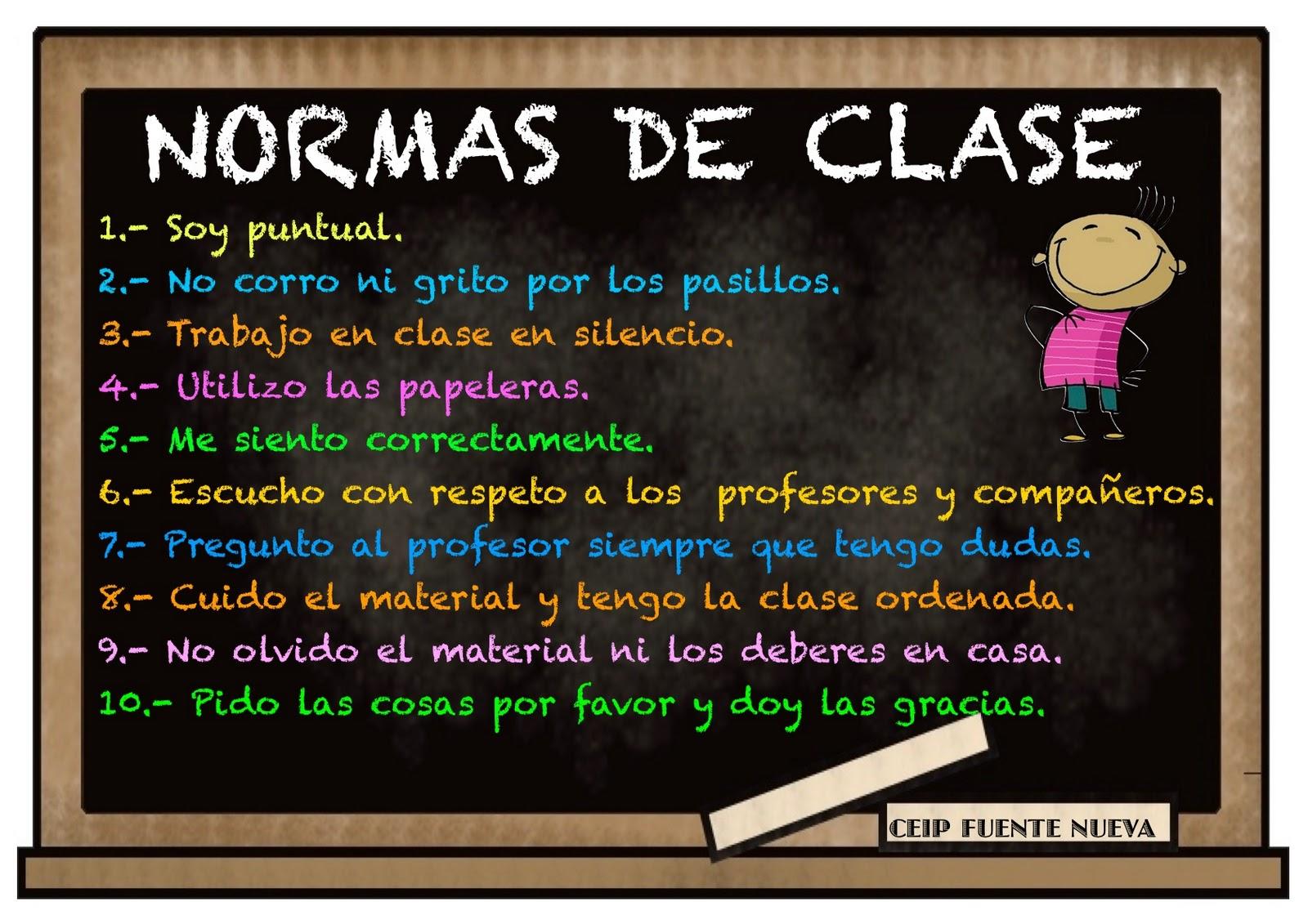 Educaci n f sica normas en clase for 5 reglas del salon de clases