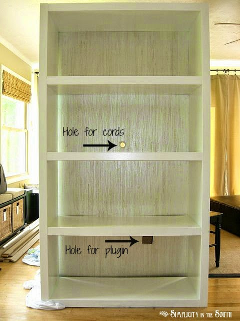 DIY Ikea Bookshelves Makeover with Wallpaper and Paint