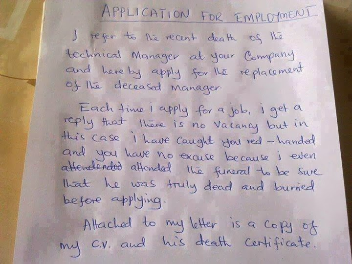 Funny love application letter