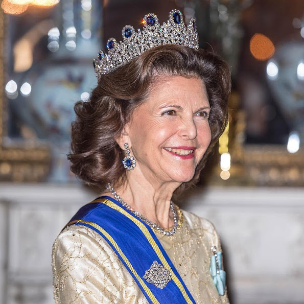 King Carl Gustaf and Queen Silvia of Sweden, Crown Princess Victoria of Sweden and Prince Daniel, Prince Carl Philip of Sweden attended the banquet held for Tunisian President Beji Caid Essebsi