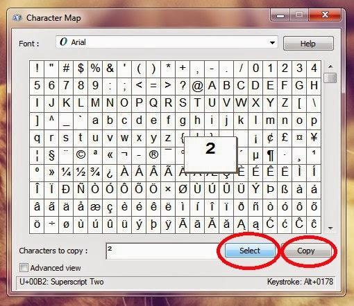 Cara Menulis Kuadrat dan Simbol Lainya