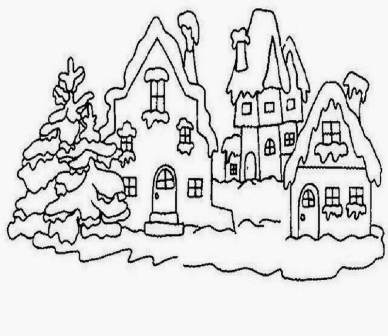 Sauvage27 paesaggi di natale disegni da colorare for Disegni paesaggio invernale