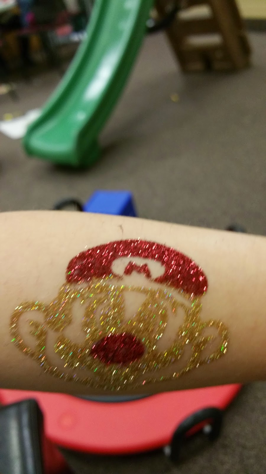 Mario Brothers Glitter Tattoo