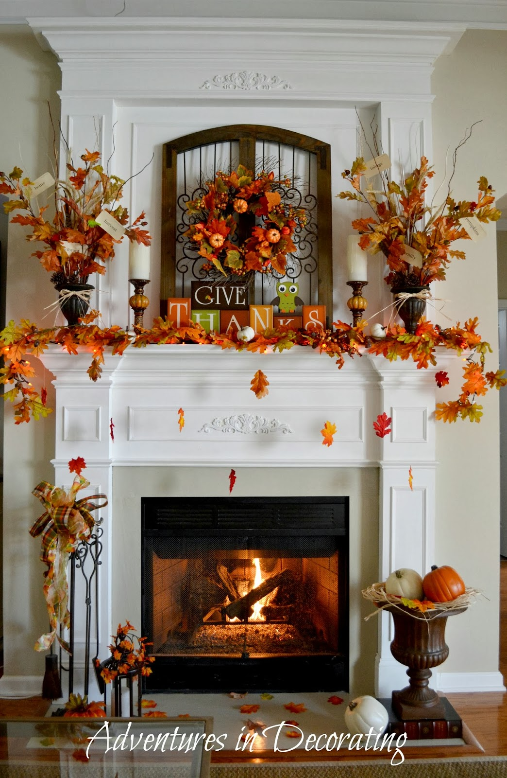 Adventures in decorating our fall mantel for Thanksgiving home ideas