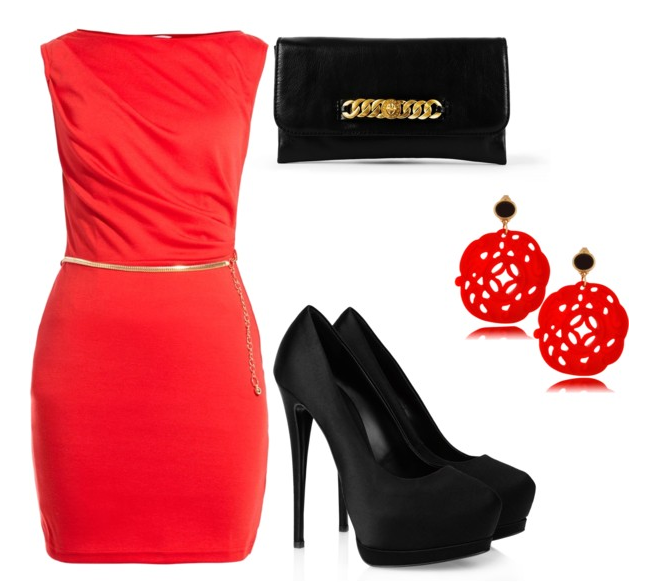 Red Dress, Shoes, Earrings..