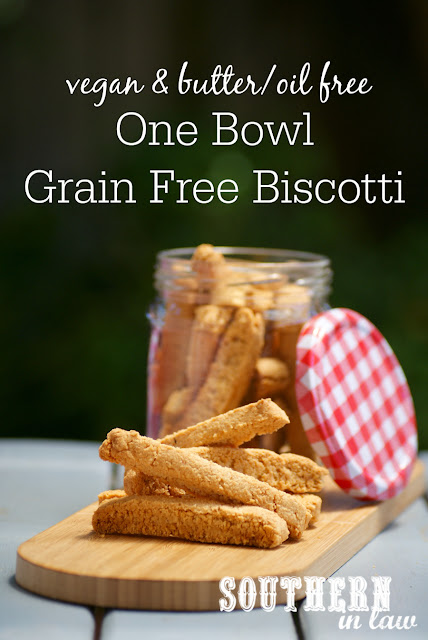 One Bowl Healthy Biscotti Recipe - vegan, gluten free, grain free, paleo, sugar free, low fat, egg free, dairy free