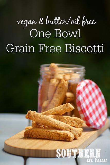 One Bowl Healthy Biscotti Recipe - vegan, gluten free, grain free, paleo, sugar free, low fat, egg free, dairy free