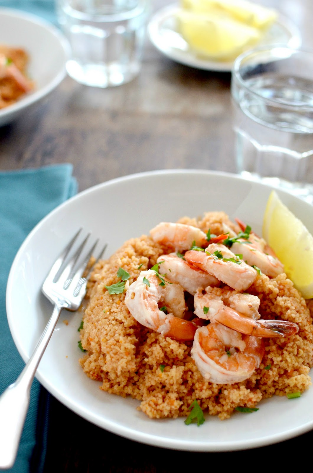 Apricosa: Shrimp Scampi on Couscous
